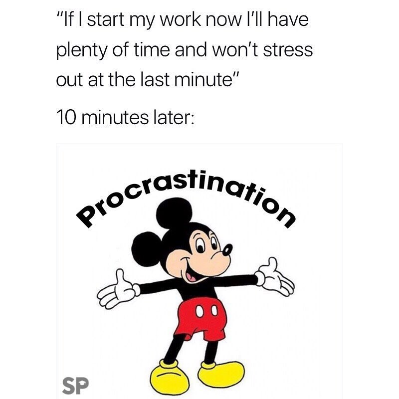 """meme - Cartoon - """"If I start my work now I'll have plenty of time and won't stress out at the last minute"""" 10 minutes later: Procrdstinatio SP"""