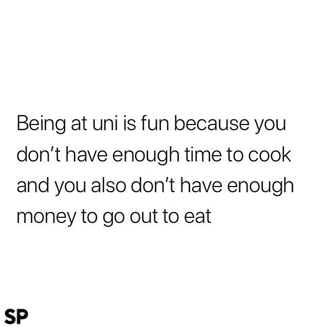 meme - Text - Being at uni is fun because you don't have enough time to cook and you also don't have enough money to go out to eat SP