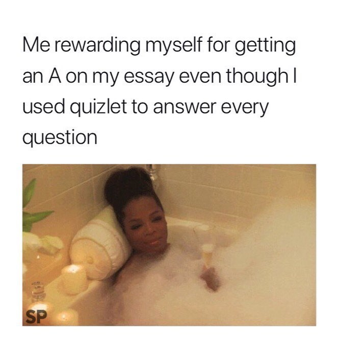 meme - Text - Me rewarding myself for getting an A on my essay even though I used quizlet to answer every question SP