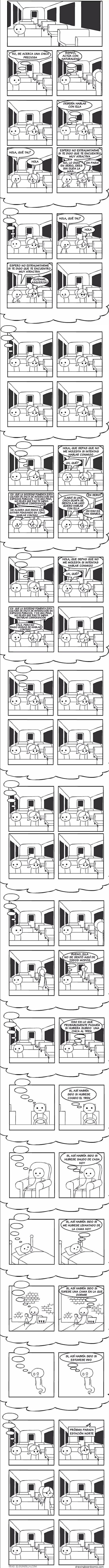 chico espera demasiado para hablar con chica en el tren