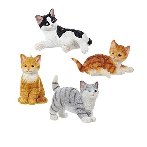 Christmas tree ornament of 4 different colored cats