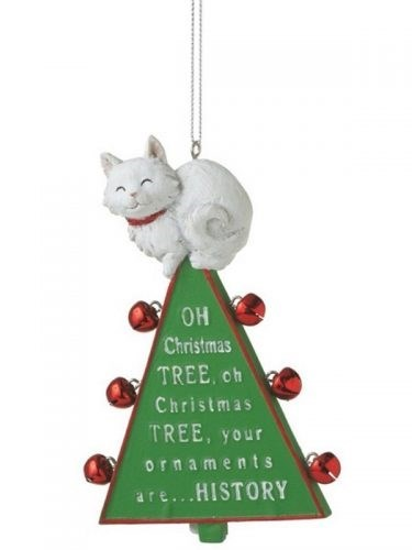 Christmas tree ornament of a cat sitting on top of a tree