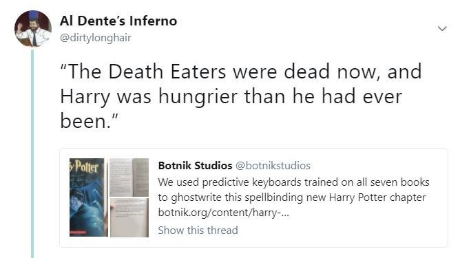 Quote made fun of in a tweet from Harry Potter chapter written by a bot