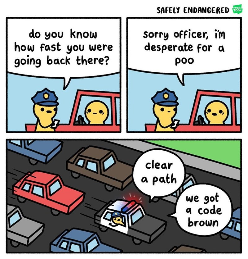 Funny web comic about a guy speeding, cop comes over, he has to poop, cop helps him.