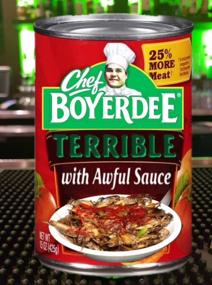 Funny can of food packaging that is supposed to look like chef boyardee.