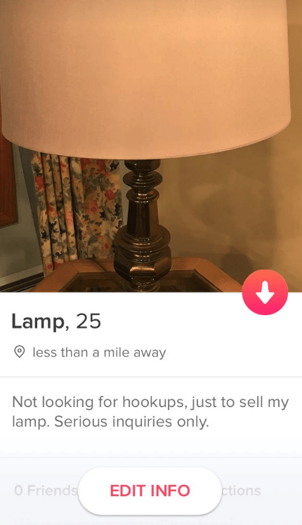 Lampshade - Lamp, 25 less than a mile away Not looking for hookups, just to sell my lamp. Serious inquiries only. O Friends ctions EDIT INFO