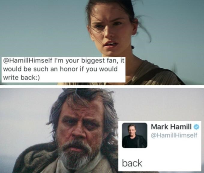 Face - @HamillHimself I'm your biggest fan, it would be such an honor if you would write back: Mark Hamill @HamillHimself back