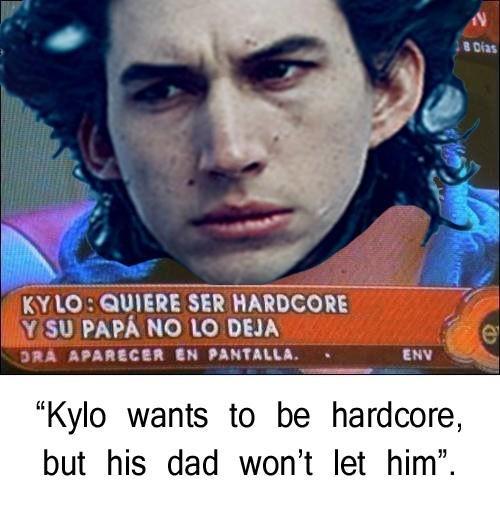 """Forehead - B Dias KYLOSQUIERE SER HARDCORE Y SU PAPÁ NO LO DEJA DRA APARECER EN PANTALLA. ENV """"Kylo wants to be hardcore, let him"""" but his dad won't"""