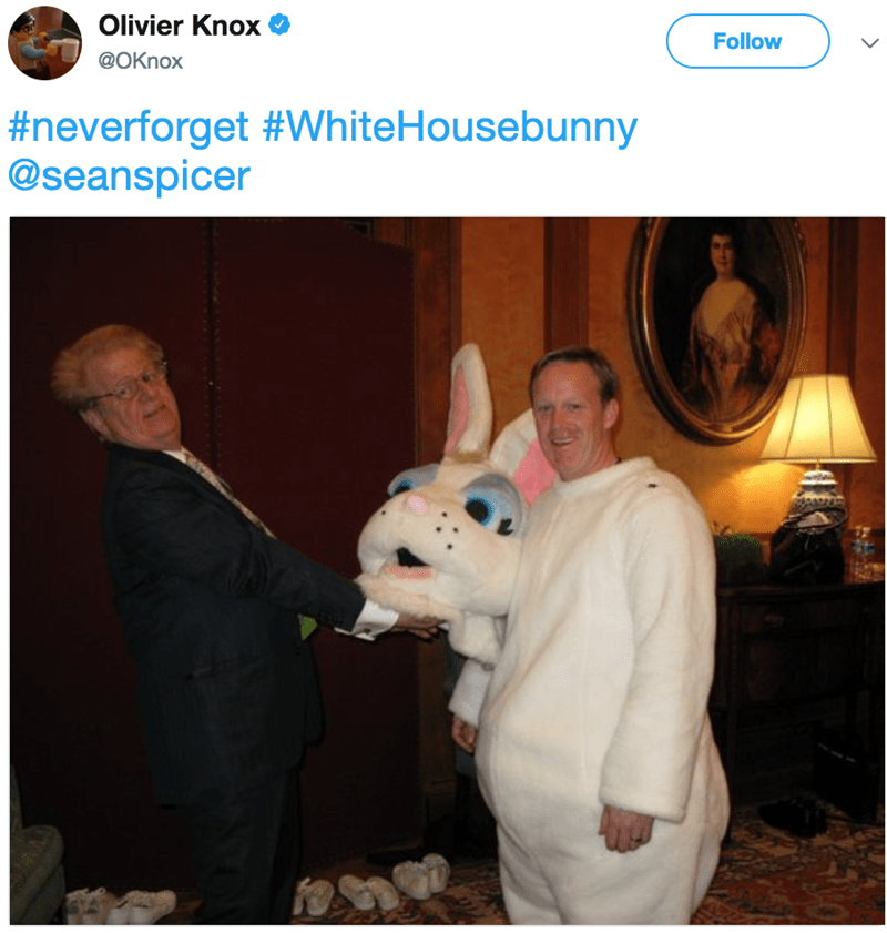 Photo caption - Olivier Knox @OKnox Follow L #neverforget #WhiteHousebunny @seanspicer