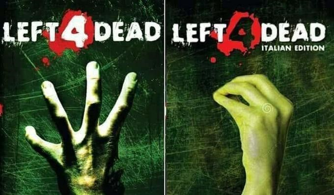 """Italian """"Left 4 Dead"""" movie poster with a hand doing the Italian gesture"""