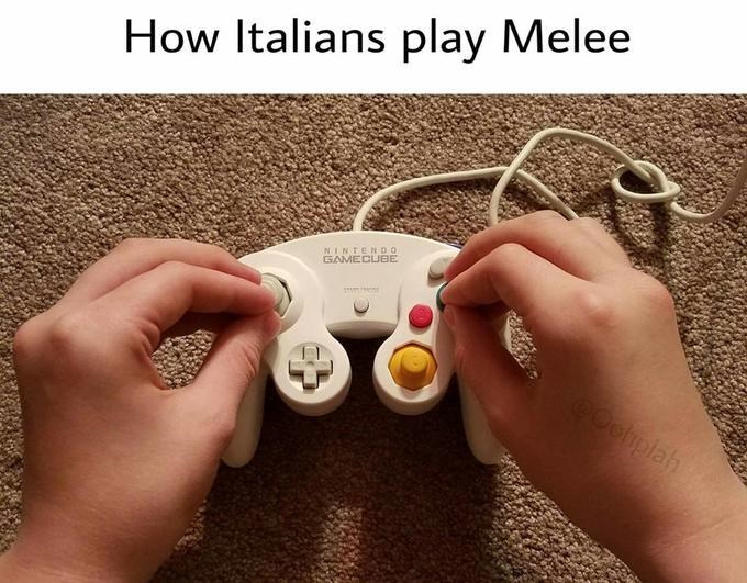 joke about Italians playing video games with pic of hands using a controller while doing the Italian gesture