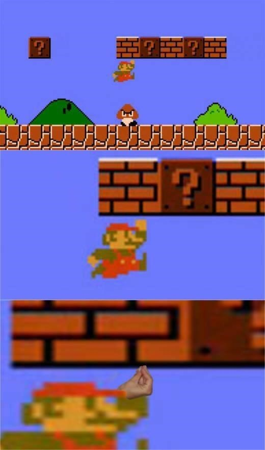 series of pics zooming in on classic Mario to show he's doing the Italian hand gesture