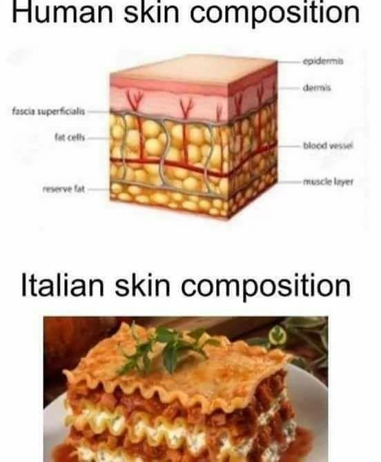 meme about Italian skin being composed of lasagna