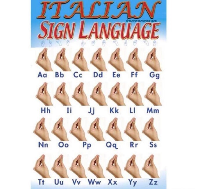 meme about Italian sign language with all the letter being the same Italian gesture