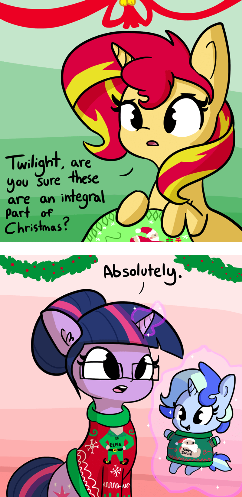 shipping christmas hearths-warming-eve OC twilight sparkle ugly sweater sciset diary sunset shimmer - 9105683712
