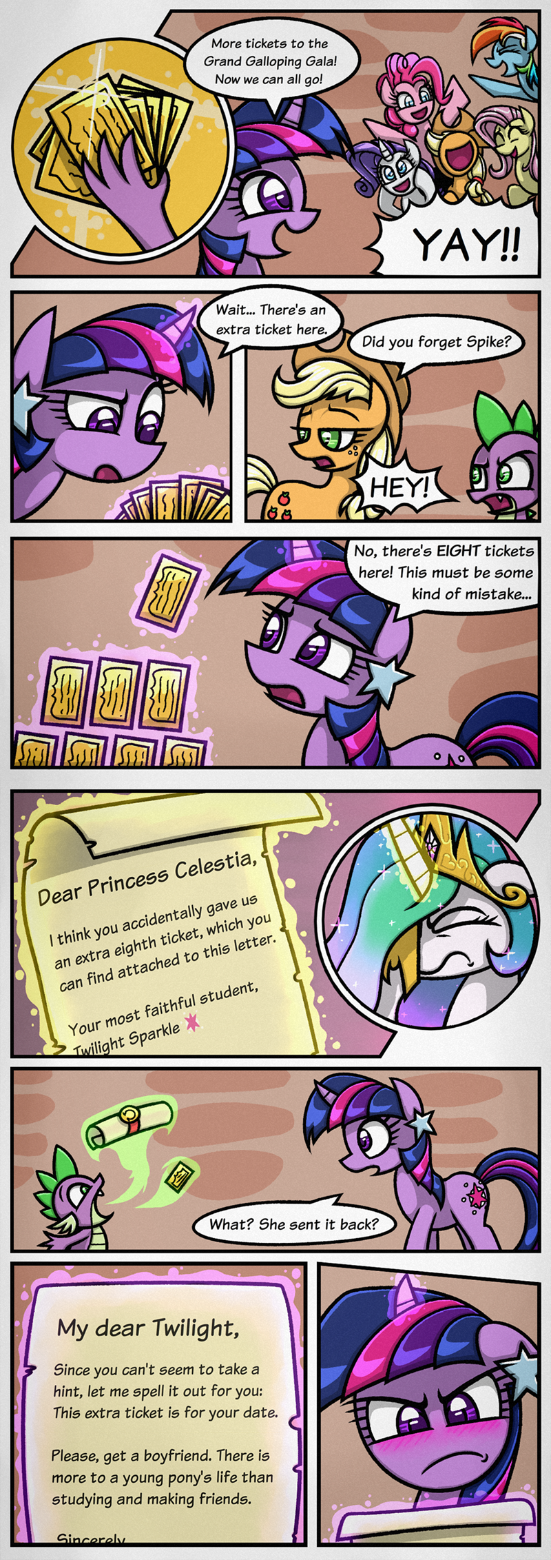 rambopvp the best night ever spike applejack twilight sparkle pinkie pie rarity comic princess celestia fluttershy rainbow dash - 9105684224