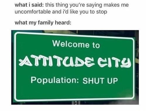 Text - what i said: this thing you're saying makes me uncomfortable and i'd like you to stop what my family heard: Welcome to ATTITUDE CITY Population: SHUT UP