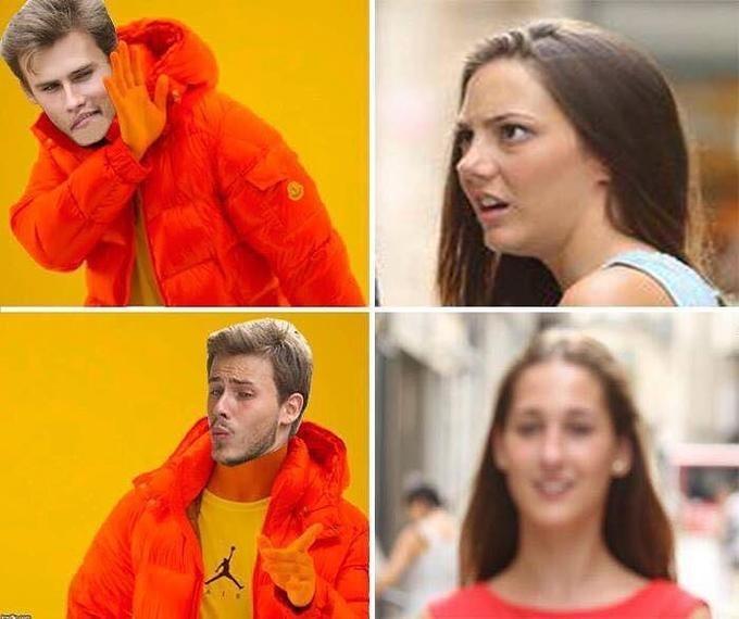 distracted boyfriend - Orange