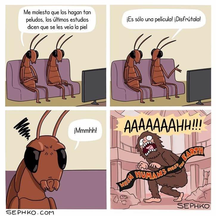 cucarachas del futuro viendo una pelicula con humanos