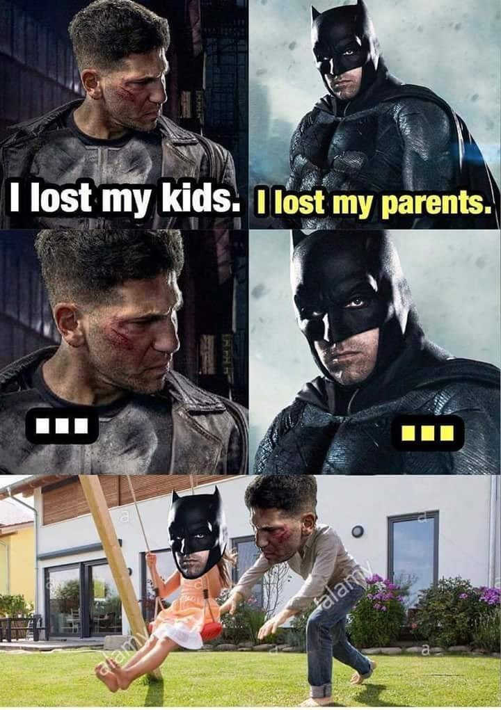 Funny meme about the Punisher and Batman making each other happy.