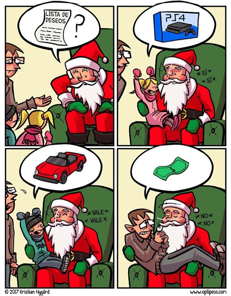 mientras los ninos piden juguetes lo adultos piden dinero