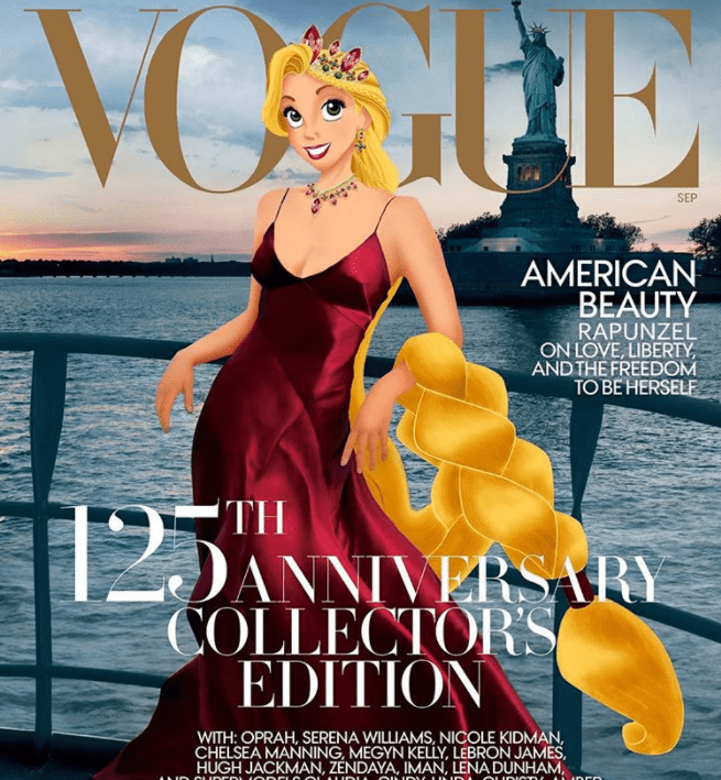 Poster - VOGHE SEP AMERICAN BEAUTY RAPUNZEL ON LOVE, LIBERTY AND THE FREEDOM TO BE HERSELF TH DANNIVERSARY COLLECTORS EDITION WITH: OPRAH, SERENA WILLIAMS, NICOLE KIDMAN CHELSEA MANNING, MEGYN KELLY, LEBRON JAMES, HUGH JACKMAN, ZENDAYA, IMAN, LENADUNHAM