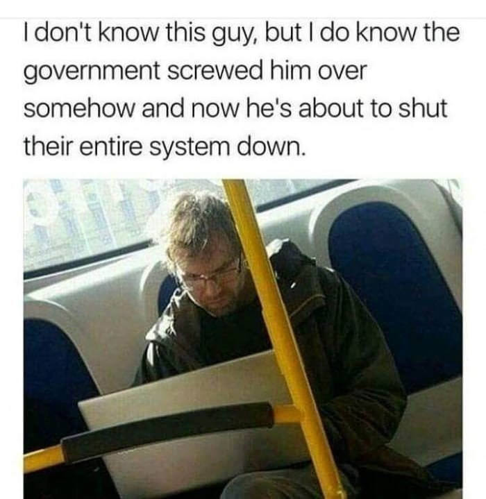 Funny meme about man on a bus on his computer.