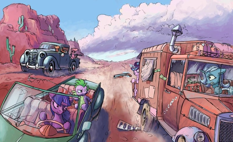 Mad Max spike applejack the great and powerful trixie ierf starlight glimmer pinkie pie ponify - 9106237440