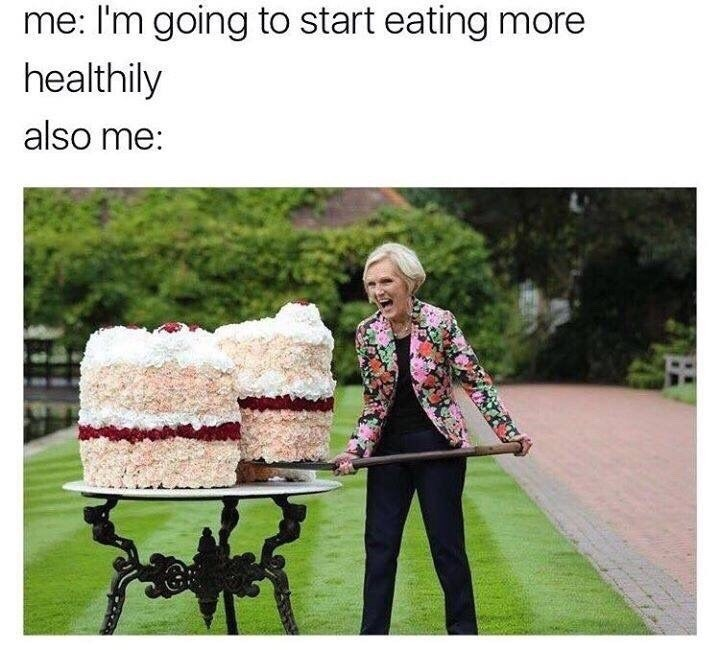 funny meme about eating healthy, but not really.