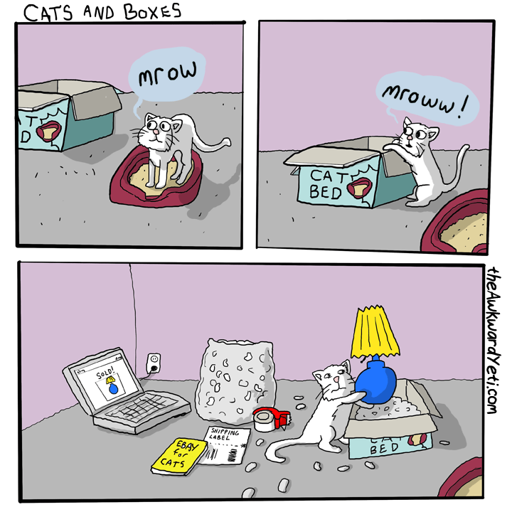 Cartoon - CATS AND BOxES mroww! MOJW CAT BED SOLD! SHIPPING L4BEL BED EBAY for CATS the AwkwardYeti.com 00