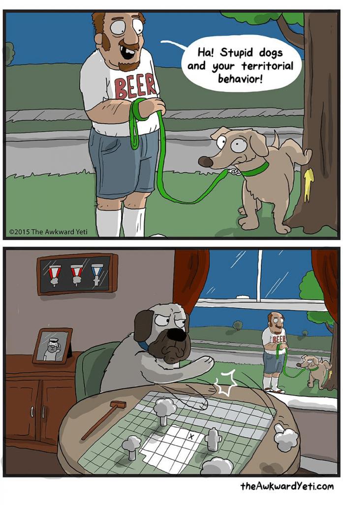 Cartoon - Ha! Stupid dogs and your territorial behavior! BEER 2015 The Awkward Yeti REER theAwkwardYeti.com