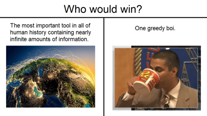 Adaptation - Who would win? One greedy boi The most important tool in all of human history containing nearly infinite amounts of information Ree