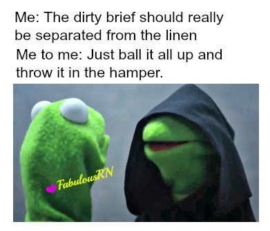Organism - Me: The dirty brief should really be separated from the linen Me to me: Just ball it all up and throw it in the hamper. FabulousRN