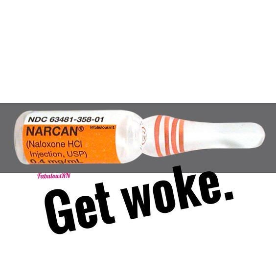 NDC 63481-358-01 NARCAN® @fabulousrn1 (Naloxone HC Injection, USP) 0.4ma/mL FabulousR'N Get woke.