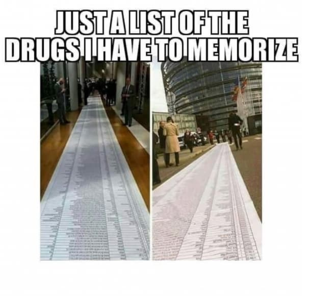 Product - JUSTALIST OF THE DRUGS IHAVE TO MEMORIZE