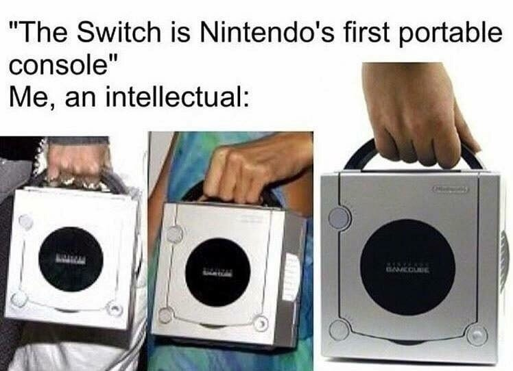 Funny meme about pretending that the wii is portable like the nintendo switch.