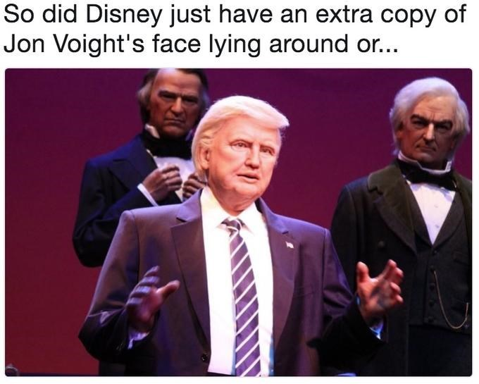Trump meme about his disney robot looking like Jon Voight