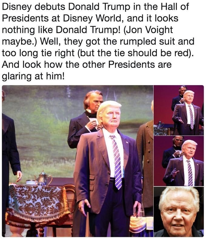 Trump meme about his disney robot not looking like him