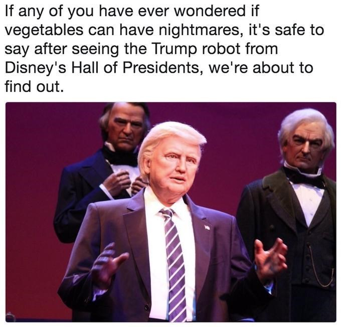 Trump meme about his disney robot giving vegetables nightmares