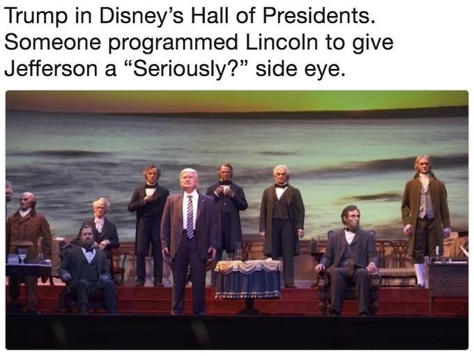 Trump meme about his disney robot getting a dirty look from Jefferson