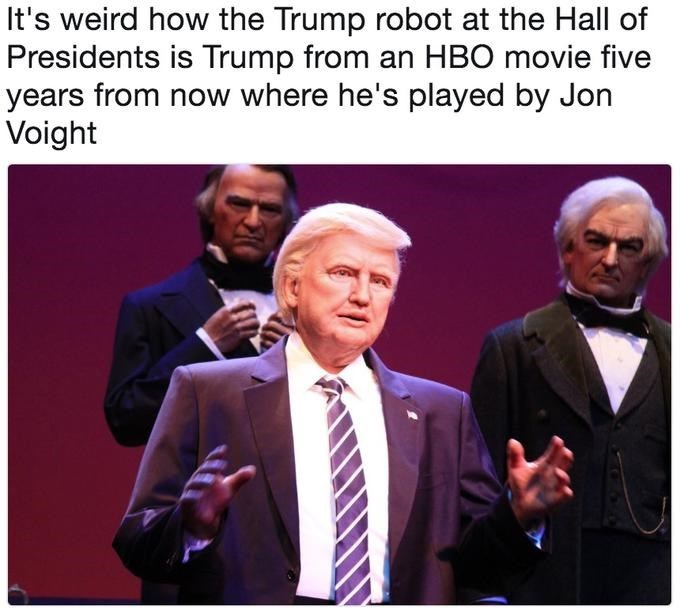 Trump meme about his disney robot looking like Jon Voight pretending to be Trump