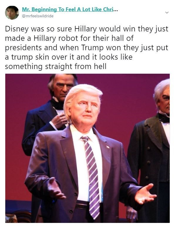 Trump meme about his disney robot looking like Hillary Clinton