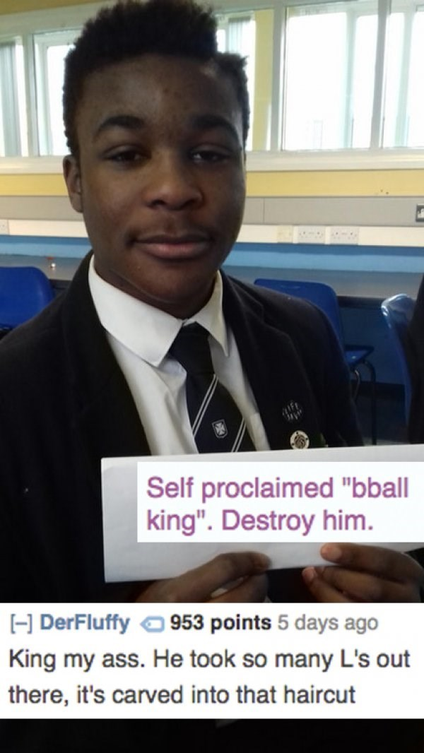 """Job - Self proclaimed """"bball king"""". Destroy him. HDerFluffy 953 points 5 days ago King my ass. He took so many L's out there, it's carved into that haircut"""
