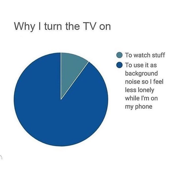 Funny meme about using the tv as background noise to make you feel less lonely when you're on your phone.
