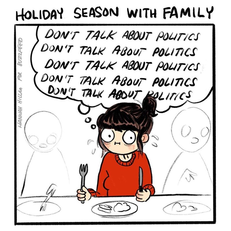 Funny meme about holidays with family, avoiding talking about politics.