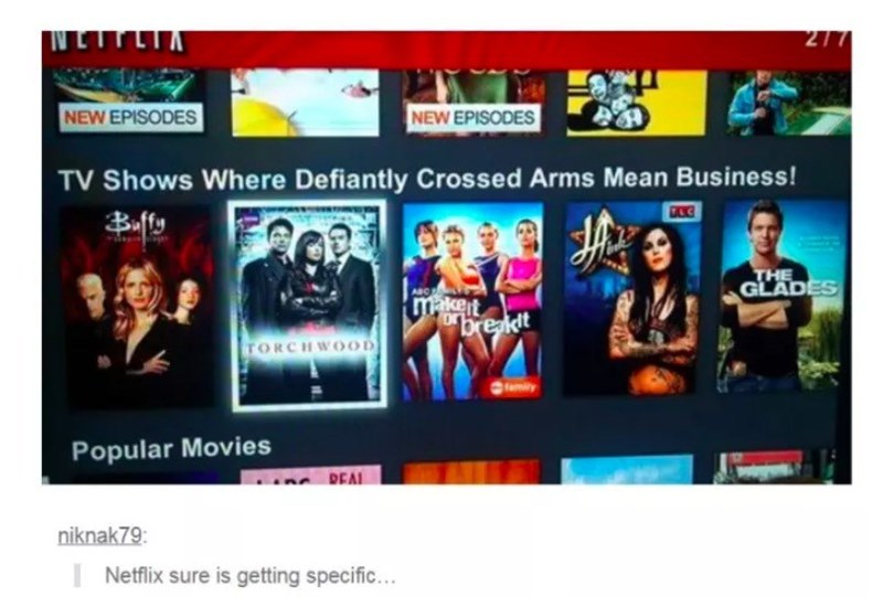 Media - NETTLIA 277 NEW EPISODES NEW EPISODES TV Shows Where Defiantly Crossed Arms Mean Business! Bfty THE GLADES ABC makert breakdt TORCHWOOD amily Popular Movies REAL niknak79: Netflix sure is getting specific...
