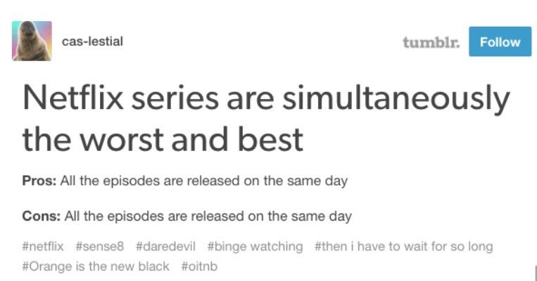 Text - tumblr. Follow cas-lestial Netflix series are simultaneously the worst and best Pros: All the episodes are released on the same day Cons: All the episodes are released on the same day #netflix #sense8 #daredevil #binge watching #then i have to wait for so long #Orange is the new black #oitnb