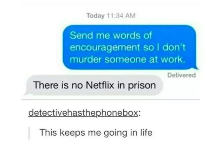 Text - Today 11:34 AM Send me words of encouragement so I don't murder someone at work Delivered There is no Netflix in prison detectivehasthephonebox: This keeps me going in life
