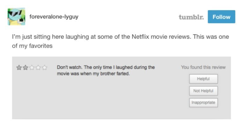 Text - tumblr. Follow foreveralone-lyguy I'm just sitting here laughing at some of the Netflix movie reviews. This was one of my favorites Don't watch. The only time I laughed during the movie was when my brother farted. You found this review Helpful Not Helpful Inappropriate