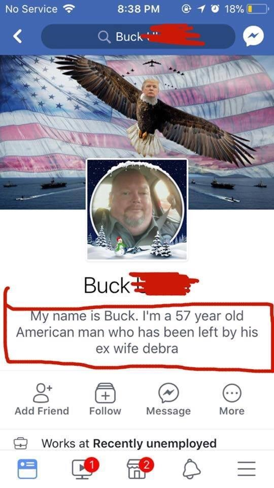 Funny meme about a redneck who has a facebook cover photo of an eagle with donald trump's face.
